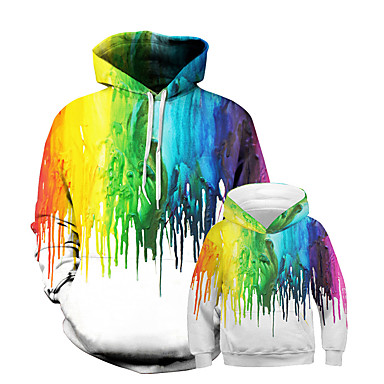 cheap Family Matching Outfits-Daddy and Me Punk & Gothic Color Block Patchwork Long Sleeve Regular Regular Hoodie & Sweatshirt Rainbow