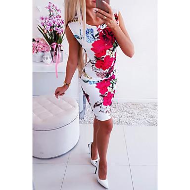 cheap Bodycon Dresses-Women's Bodycon Dress - Short Sleeve Floral Basic Rainbow S M L XL