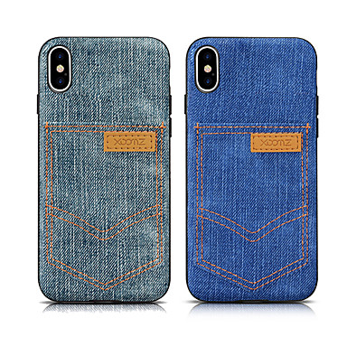 voordelige iPhone X hoesjes-hoesje voor apple iphone xs max / iphone 8 plus schokbestendig / kaarthouder achterkant effen gekleurde zachte textiel voor iphone 7/7 plus / 8/6/6 plus / xr / x / xs