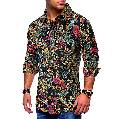 رخيصةأون قمصان رجالي-رجالي أساسي طباعة مقاس أوروبي / أمريكي - قطن قميص, الرسم ياقة مع زر سفلي / كم طويل