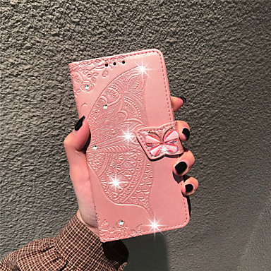 Недорогие Чехлы и кейсы для LG-Кейс для Назначение LG LG Stylo 4 / LG Q7 / LG K40 Кошелек / Бумажник для карт / Стразы Чехол Бабочка / Цветы Мягкий Кожа PU