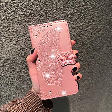 cheap LG Case-Case For LG LG Stylo 4 / LG Q7 / LG K40 Wallet / Card Holder / Rhinestone Full Body Cases Butterfly / Flower Soft PU Leather