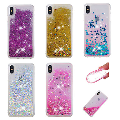 voordelige iPhone-hoesjes-hoesje voor apple iphone xr / iphone xs max glitter shine / vloeiende vloeistof achterkant glitter shine soft tpu voor iphone x xs 8 8plus 7 7plus 6 6plus 6s 6s plus