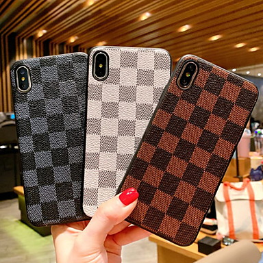 voordelige iPhone 6 hoesjes-hoesje Voor Apple iPhone XR / iPhone XS Max / iPhone X Schokbestendig / Patroon Achterkant Geometrisch patroon Hard PU-nahka
