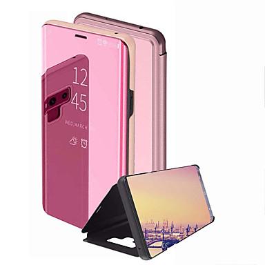 Недорогие Чехлы и кейсы для Galaxy Note-Кейс для Назначение SSamsung Galaxy Note 9 / Note 8 Зеркальная поверхность / Флип Чехол Однотонный Твердый ПК