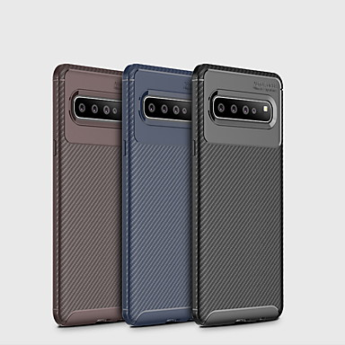Недорогие Чехлы и кейсы для Galaxy S-Кейс для Назначение SSamsung Galaxy Galaxy S10 / Galaxy S10 Plus / Galaxy S10 Lite Матовое Кейс на заднюю панель Однотонный Мягкий Углеродное волокно