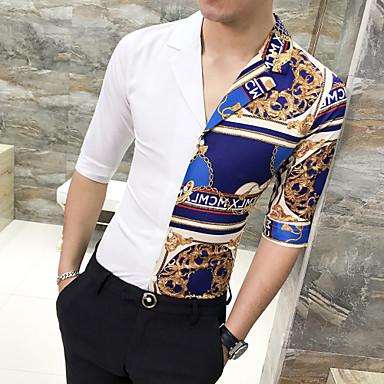 رخيصةأون قمصان رجالي-رجالي أساسي قميص, هندسي نحيل