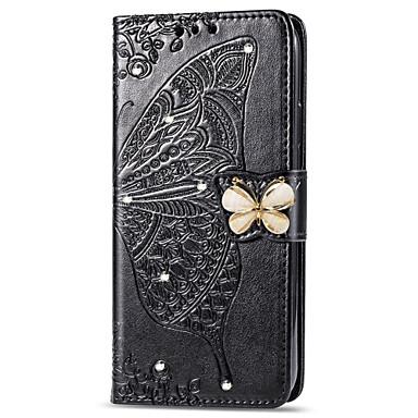 Недорогие Чехлы и кейсы для Galaxy Note-Кейс для Назначение SSamsung Galaxy Note 9 Кошелек / Бумажник для карт / Стразы Чехол Бабочка / Цветы Мягкий Кожа PU