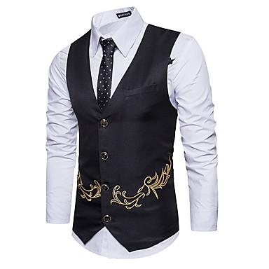رخيصةأون سترات و بدلات الرجال-رجالي أسود أزرق البحرية كاكي US34 / UK34 / EU42 US36 / UK36 / EU44 US38 / UK38 / EU46 Vest هندسي V رقبة