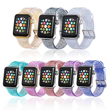 Недорогие Ремешки для Apple Watch-прозрачный силиконовый блеск водонепроницаемый браслет для яблочных часов 38 / 40mm 42 / 44mm серии 4 3 2 1