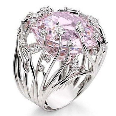 povoljno Prstenje-Žene Band Ring Prsten Kubični Zirconia 1pc Pink Drago kamenje i kristali Kamen Geometric Shape Stilski Luksuz Party Dar Jewelry Cool