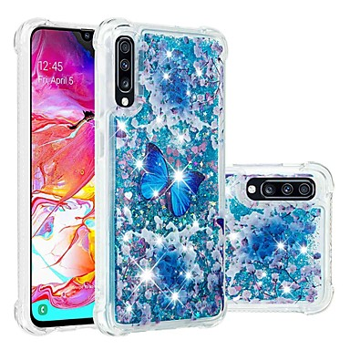 رخيصةأون حافظات / جرابات هواتف جالكسي A-غطاء من أجل Samsung Galaxy A6 (2018) / A6+ (2018) / Galaxy A7(2018) ضد الصدمات / سائل متدفق / شفاف غطاء خلفي فراشة / بريق لماع ناعم TPU