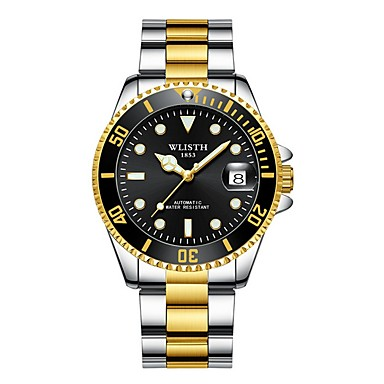 olcso Mechanikus karórák-Férfi mechanikus Watch Automatikus önfelhúzós Rozsdamentes acél Naptár Világítás Analóg Menő - Fekete Zöld Kék