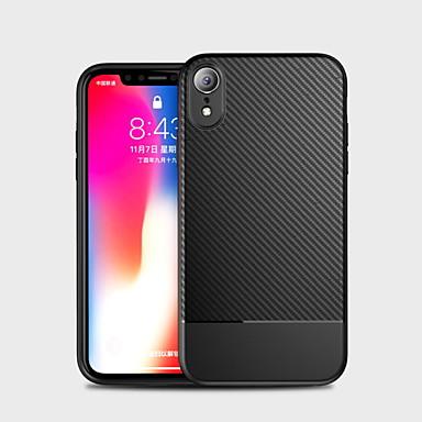 Недорогие Кейсы для iPhone-Кейс для Назначение Apple iPhone XS / iPhone XR / iPhone XS Max Защита от удара Кейс на заднюю панель Однотонный Мягкий Углеродное волокно