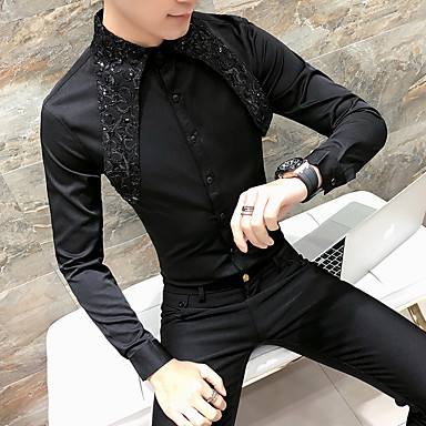 رخيصةأون قمصان رجالي-رجالي أساسي مقاس أوروبي / أمريكي قميص, لون سادة رقبة دائرية نحيل / كم طويل