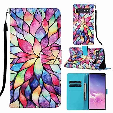 voordelige Galaxy S-serie hoesjes / covers-case voor samsung galaxy s8 plus / s9 plus patroon / flip / met stand full body cases cartoon / bloem hard pu leer voor galaxy s10 / galaxy s10 plus / galaxy s10 e