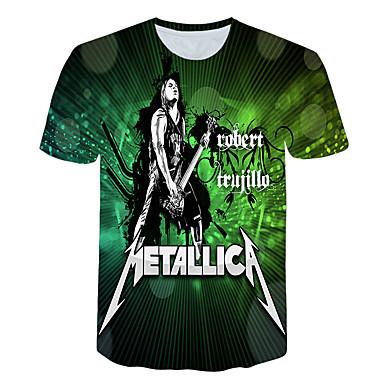 お買い得  メンズファッション-男性用 EU / USサイズ Tシャツ ベーシック ラウンドネック 3D レインボー / 半袖