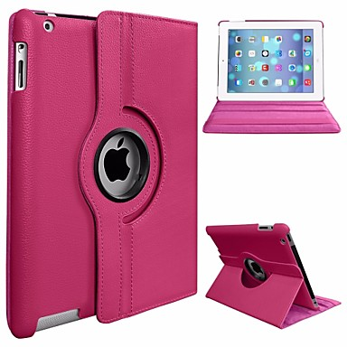 رخيصةأون أغطية أيباد-غطاء من أجل Apple iPad Air دوران360ْ / ضد الغبار / مع حامل غطاء كامل للجسم لون سادة قاسي جلد PU / الكمبيوتر الشخصي إلى iPad Air