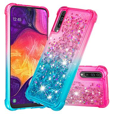 رخيصةأون حافظات / جرابات هواتف جالكسي A-غطاء من أجل Samsung Galaxy Galaxy A7(2018) / Galaxy A9 (2018) / Galaxy A10 (2019) ضد الصدمات / سائل متدفق / بريق لماع غطاء خلفي بريق لماع / لون متغاير ناعم TPU