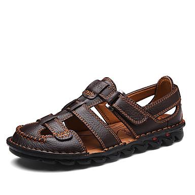 Недорогие Мужские сандалии-Муж. Комфортная обувь Наппа Leather Лето / Весна лето На каждый день Сандалии Дышащий Черный / Коричневый