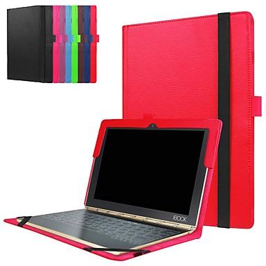 Недорогие Чехлы и кейсы для Lenovo-Кейс для Назначение Lenovo Lenovo Yogabook Защита от удара / со стендом / Ультратонкий Чехол Однотонный Твердый Кожа PU