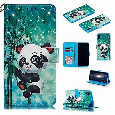 voordelige iPhone X hoesjes-hoesje Voor Apple iPhone XS / iPhone XR / iPhone XS Max Portemonnee / Kaarthouder / Schokbestendig Volledig hoesje Cartoon / Panda Hard PU-nahka
