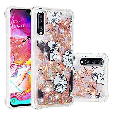 voordelige Galaxy A-serie hoesjes / covers-hoesje Voor Samsung Galaxy A6 (2018) / A6+ (2018) / Galaxy A7(2018) Schokbestendig / Stromende vloeistof / Transparant Achterkant Hond / Glitterglans Zacht TPU