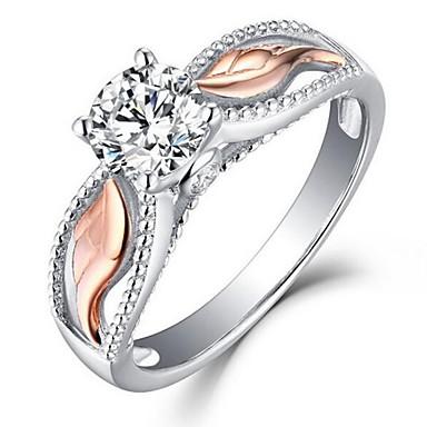 رخيصةأون خواتم-نسائي خاتم مكعب زركونيا 1PC فضي سبيكة مناسب للبس اليومي مجوهرات أجنحة