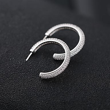 olcso Karika fülbevalók-Női Ezüst Kocka cirkónia Francia kapcsos fülbevalók S925 ezüst Fülbevaló Ékszerek Ezüst Kompatibilitás Esküvő Parti 1 pár