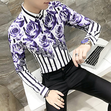 رخيصةأون قمصان رجالي-رجالي أساسي مقاس أوروبي / أمريكي قميص, ورد نحيل / كم طويل