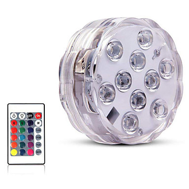 cheap Outdoor Lights-10 Led Remote Controlled RGB Submersible Light Underwater Light for Swimming Pool Vase Bowl Garden Party Decoration Battery Operated