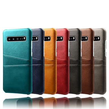 Недорогие Чехлы и кейсы для Galaxy S-Кейс для Назначение SSamsung Galaxy Galaxy S10 / Galaxy S10 Plus / Galaxy S10 E Бумажник для карт / Защита от пыли / Защита от влаги Кейс на заднюю панель Однотонный Твердый Кожа PU / ПК