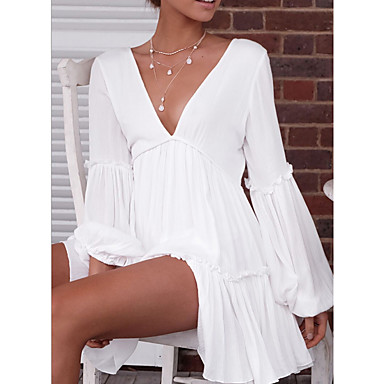 cheap White and Black Dresses-Women's A-Line Dress Long Sleeve Patchwork Deep V Going out Beach White S M L XL / Mini / Sexy