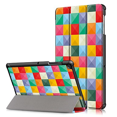 hoesje Voor Samsung Galaxy Samsung Tab S5e T720 10.5 / Samsung Tab A 10.1 (2019) T510 Schokbestendig / Flip / Origami Volledig hoesje Geometrisch patroon Hard PU-nahka