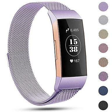 Недорогие Аксессуары для смарт-часов-Ремешок для часов для Fitbit Charge 3 Fitbit Миланский ремешок Нержавеющая сталь Повязка на запястье