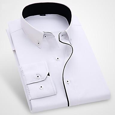 رخيصةأون قمصان رجالي-رجالي الأعمال التجارية / أساسي كشكش قطن قميص, لون سادة ياقة مع زر سفلي نحيل