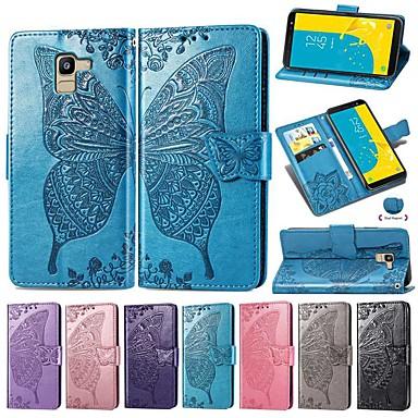 غطاء من أجل Samsung Galaxy J7 (2018) / J6 (2018) / J6 Plus محفظة / حامل البطاقات / ضد الصدمات غطاء كامل للجسم لون سادة / فراشة قاسي جلد PU