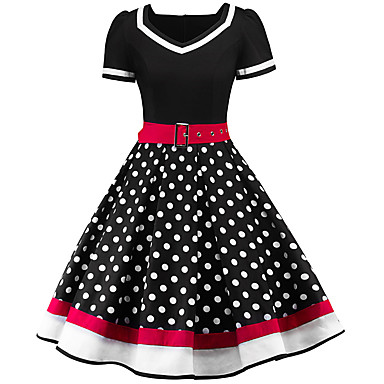 cheap Vintage Dresses-Women's Swing Dress - Short Sleeve Polka Dot Print V Neck Street chic Black Red Navy Blue S M L XL XXL