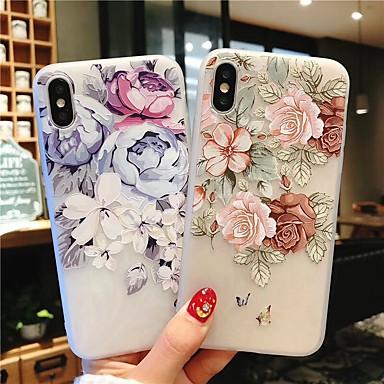voordelige iPhone-hoesjes-geval voor apple iphone 7 / iphone 7 plus / iphone 6 plus reliëf achterkant bloem zachte tpu voor iphone xs max / xs / xr 6s 6 splus 7 8 7 plus 8 plus