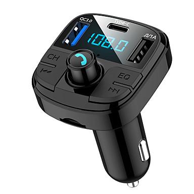 お買い得  車用Bluetoothキット/ハンズフリー-BT29 Bluetooth 5.0カーFMトランスミッターQC3.0カーブルートゥースアダプターワイヤレスブルートゥースFMラジオアダプター5 EQモード3充電ポートサポートUSBディスクTFカードハンズフリーカーキット