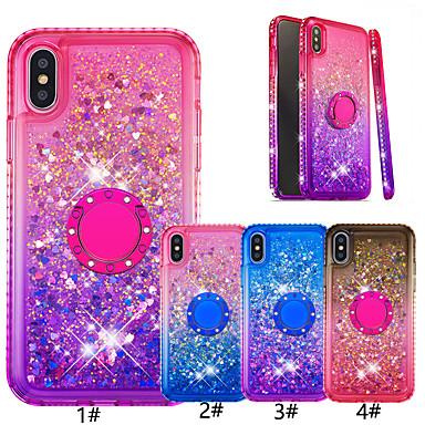 Недорогие Кейсы для iPhone 6-чехол для яблока iphone xr / iphone xs макс блестящий блеск / кольцо держатель задняя крышка цвет градиента мягкое тпу для ИК iphone 6/6 plus / 6s / 6s plus / 7/7 plus / 8/8 plus / x / xs
