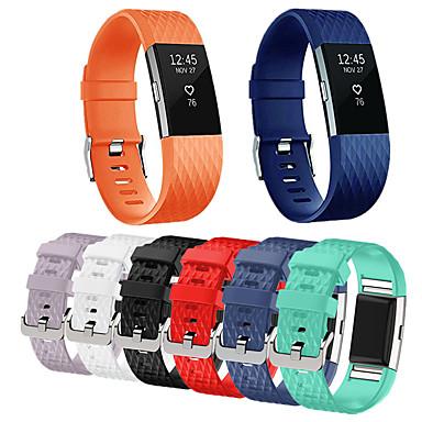 Недорогие Ремешки для спортивных часов-Ремешок для часов для Fitbit Charge 2 Fitbit Спортивный ремешок Нержавеющая сталь / силиконовый Повязка на запястье