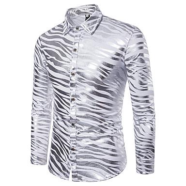 رخيصةأون قمصان رجالي-رجالي مقاس أوروبي / أمريكي قميص, هندسي / كم طويل