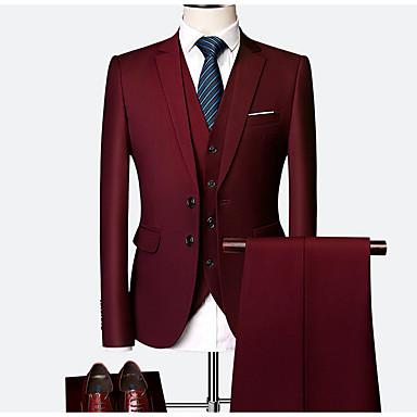 olcso Férfi szabadtéri viselet-Férfi Extra méret ruhák, Egyszínű Állógallér Poliészter Bor / Világoskék / Tengerészkék / Vékony