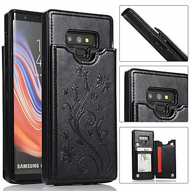 Недорогие Чехлы и кейсы для Galaxy Note-Кейс для Назначение SSamsung Galaxy Note 9 / Note 8 Бумажник для карт Кейс на заднюю панель Однотонный Твердый Кожа PU