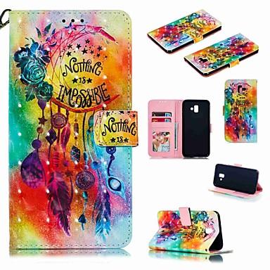 غطاء من أجل Samsung Galaxy J7 (2017) / J7 (2018) / J6 (2018) محفظة / حامل البطاقات / ضد الصدمات غطاء كامل للجسم كارتون قاسي جلد PU