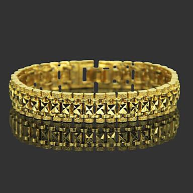 voordelige Heren Armband-Heren Armbanden met ketting en sluiting Wide Bangle Klassiek Bladvorm Kostbaar Stijlvol modieus Messinki Armband sieraden Goud Voor Dagelijks Werk / Verguld