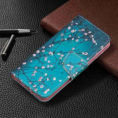 Недорогие Чехлы и кейсы для Galaxy А-Кейс для Назначение SSamsung Galaxy Galaxy A7(2018) / Galaxy A10 (2019) / Galaxy A30 (2019) Кошелек / Бумажник для карт / со стендом Чехол Цветы Твердый Кожа PU