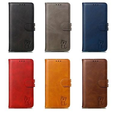 Недорогие Чехлы и кейсы для Galaxy Note-Кейс для Назначение SSamsung Galaxy Note 9 Кошелек / Бумажник для карт / Защита от удара Чехол Однотонный Твердый Кожа PU