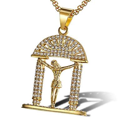 Недорогие Ожерелья-Муж. Цирконий Ожерелья с подвесками Классический молитва Мода Замороженный Титановая сталь Золотой Белый 60 cm Ожерелье Бижутерия 1шт Назначение Подарок Повседневные